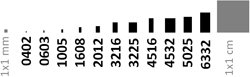 Size Comparison Chart. US 0201 and 01005 correspond to metric 0603 and 0402.