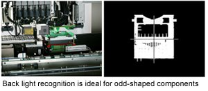 Back light recognition is ideal for odd-shaped components