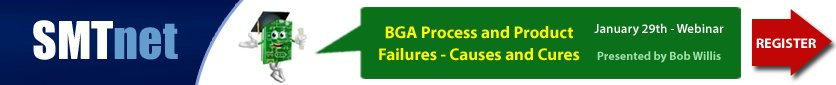 BGA Process and Product Failures - Causes and Cures, January 29th Webinar by Bob Willis