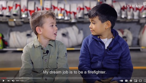 Clariant kids promoting Exolit�� 5060 flame retardant for the safety & wearing comfort of firefighter suits