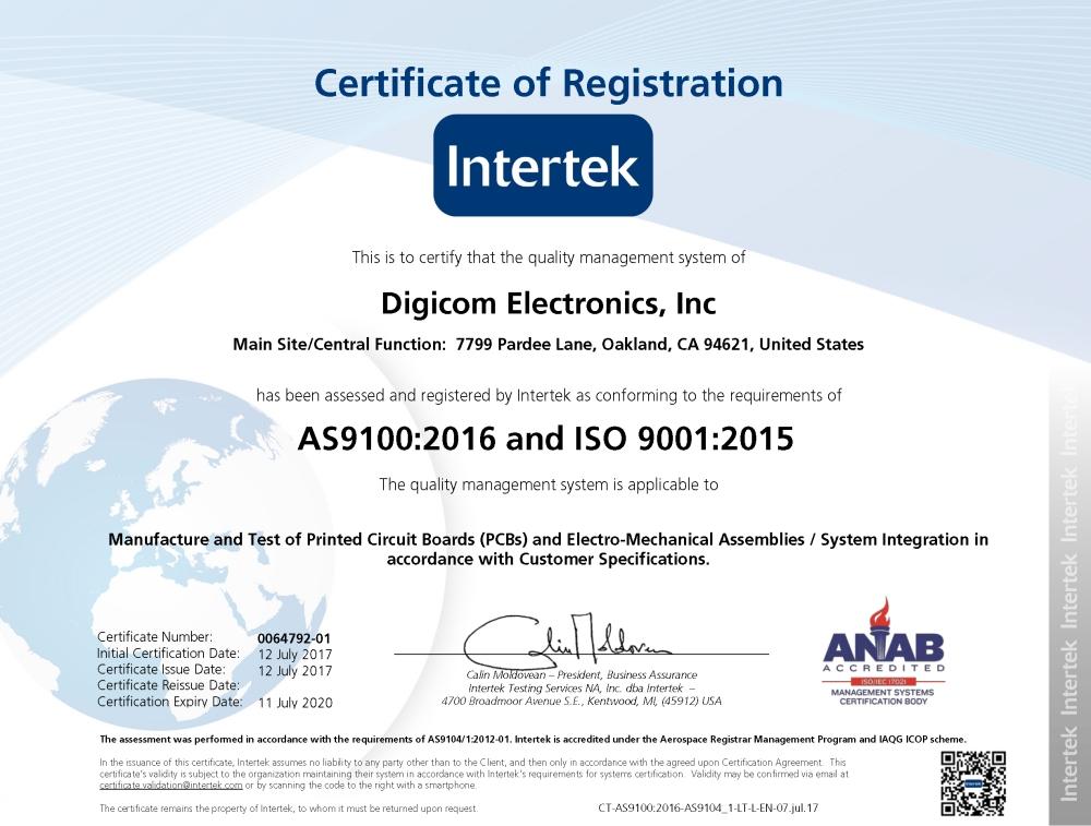 Digicom Electronics Receives AS9100:2016 (RevD) Aerospace and ISO ...