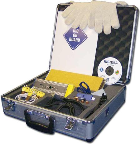 """KIC Explorer and its other related profiling products are now part of Manncorp's extensive line of PCB assembly equipment sold direct-to-user online. The """"Explorer"""" shown uses a graphical interface to intuitively guide user through the profiling task. It is housed in an aluminum carrying case and includes data intelligence software, K type thermocouples, quick-start guide for easy user installation, plus parts and accessories."""