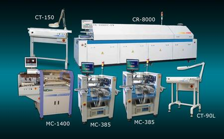 """High Throughput Flex Line"" is one of Manncorp's two new turnkey lines. Enhancing speed and versatility are two MC-385 pick and place systems, attaining combined speed of 10,000 cph. Also included is an automatic stencil printer, an 8-zone lead-free reflow oven and two conveyors."