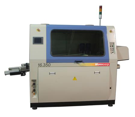 Manncorp's two-pot 16.350 wave solder machine is designed for assemblers who require both a lead-free and tin/lead capability. The compact machine is less than 5 ½ ft. long and offers the added advantage of low-capacity solder pots which reportedly substantially reduces the costly front-end solder investment.