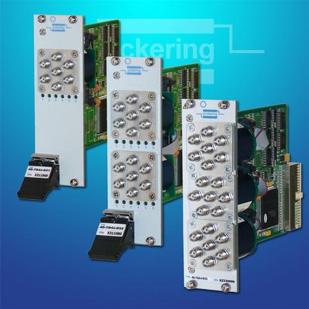 PXI Microwave Multiplexer Upgrade (40-784A) supports one, two, or three microwave multiplexers and the multiplexers can be ordered as either 4 or 6-way.