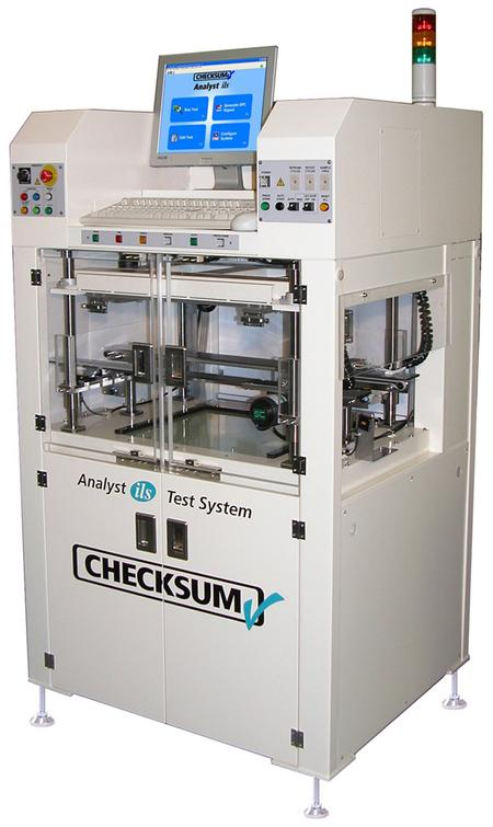 The CheckSum Analyst ils has all the features of the Analyst ems, but in a package with an integrated high-speed board handler for use in an automated production and test line.