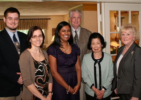 From left to right: Dr. Jeffrey Chuan Chu Fellows Tyler Vaughn, Rebekah Dufrene and Fiona Jamal Almeida (missing in photo William Pelland); Paul van der Wansem, CEO of BTU International, Inc.; Loretta Chu, widow of Dr. Chu; Dr. Carole Cowan, President of Middlesex Community College.