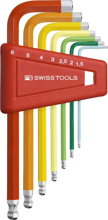 PB Swiss Tools' smaller Hex Key (allen keys) sets that are color-coded according to size and function in its Rainbow assortment.
