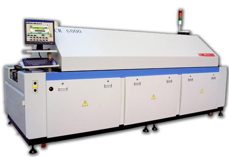 Manncorp�s computer-controlled CR-6000 reflow oven has six individually managed upper and lower heat zones and includes a motor-adjustable 17.7� pin conveyor over a 22.4� mesh belt. Other models in the CR series are 5, 8 and 10 zone systems.