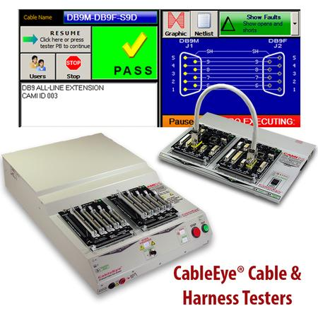 CableEye PC-based testers with dynamic, graphic-rich user interface: HiPot tester (lhs), low voltage continuity tester (rhs)