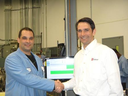 From left to right: Sébastien Canuel, Varitron's Production Manager, and Vincent Dubois, Cogiscan Co-President