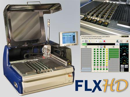 The FLXHD features a 40-device-socket system with an automated X-Y robot gantry and dual pick-and-place probes for high-throughput.