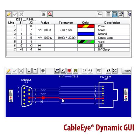CableEye Dynamic GUI: Netlist showing asymmetric tolerances