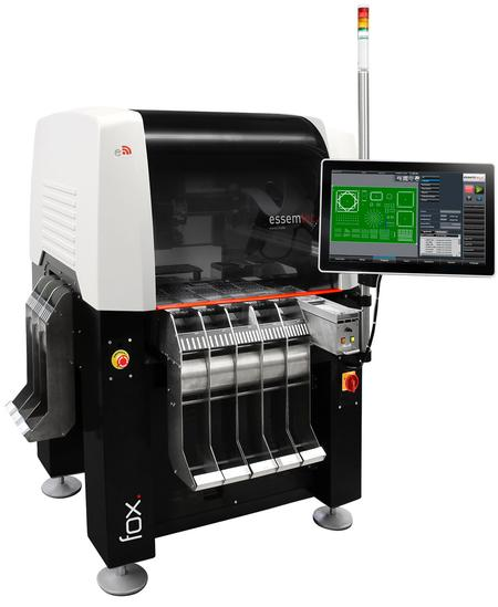 Essemtec Fox Compact Automatic Pick-and-Place System can have up to 180 feeder lanes, needs only 1sqm of floor space and can accept PCB's of up to 406 x 305 mm.