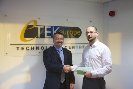 Giuliano Gallizio, Osai's Laser Machineries Sales Manager, and Martin Moggeridge, Etek's Sales Manager