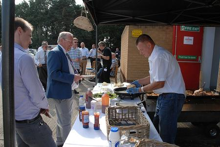 Customers, suppliers and staff enjoy a lunchtime hog roast at Europlacer Distribution's User Group event.