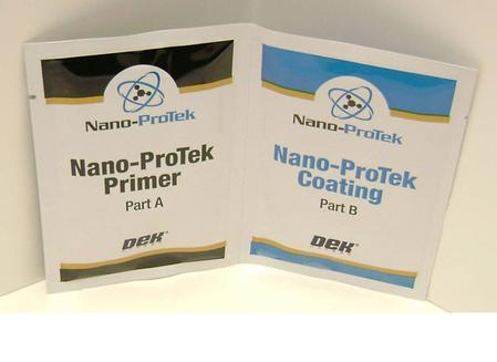 DEK's Nano-ProTek technology is a permanent, hydrophobic nano-coating that, when applied to the bottom-side of the stencil foil and stencil aperture walls, minimizes solder paste's ability to stick to the foil surface.