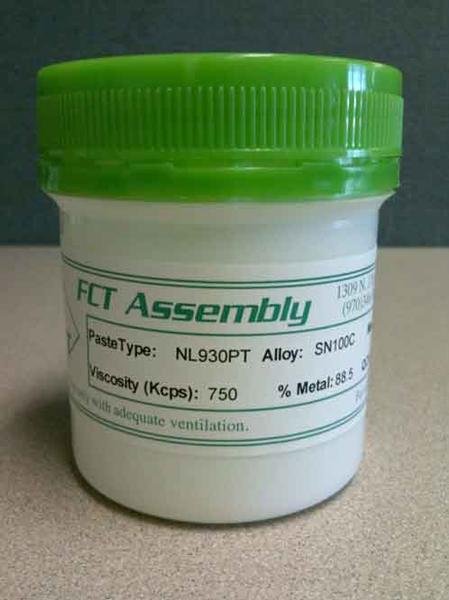 NL930PT no-clean, lead-free, halide-free pin probable solder paste.