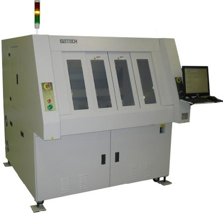 Getech GSR1290 Large Panel depaneling machine has the largest processing window available on the market today; capable of handling panels up to 910 x 610 mm (36