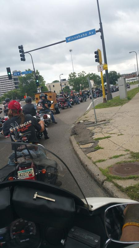Harley Davidson motorcycle run with hundreds of bikers riding to the Children's Hospital in Saint Paul.