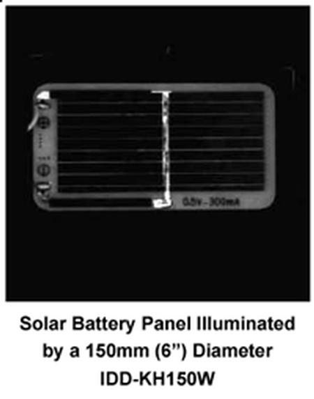 Solar Battery Panel illuminated by 150mm white IDD-KH
