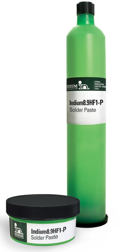 Indium8.9HF1-P Pb-free solder paste provides high transfer efficiency, and consistent print performance, even at high speeds.