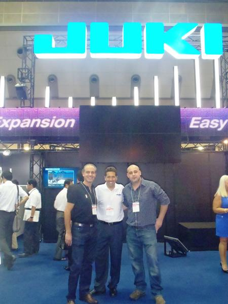 Pictured from left to right: Adriån Lamandia, Novatech's CEO, Steve Nadeau, JAS Inc.'s National Sales Manager, and Francisco Saralegui, Newsan's SMT Manager