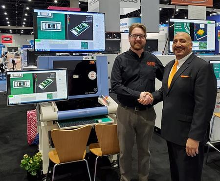 Left to Right: Martin Anselm, Director of RIT's CEMA Lab and Brian D'Amico, President of MIRTEC at IPC APEX Expo 2020