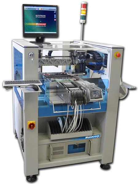 Manncorp's MC385 series is considered to be the company's most advanced pick and place machines, featuring exceptional placement accuracy, ball screw X-Y drive and linear encoders with high-speed servo motors. The single-head version is $49,995; the dual-head is $59,995.
