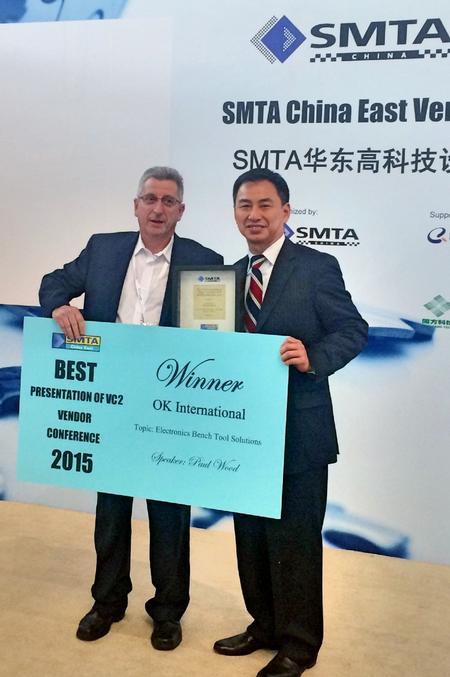 "SMTA China awarded its Applications Manager, Paul Wood, 'The Best Presentation of Vendor Conference One' for the presentation titled ""Why Non-Contact Array Solder Clean Up is required."""