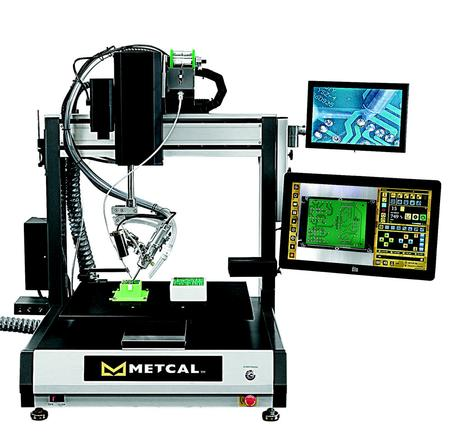 Robotic soldering is becoming more commonplace as manufacturers look to increase productivity. Metcal's new Robotic Soldering System addresses these needs by combining our patented Connection Validation (CV) technology and Smart Interface System. CV mitigates solder defects by validating the intermetallic compound (IMC) formation in a soldered joint, and reduces unnecessary dwell time by signaling to the system to move to the next solder joint in the program after a good joint is detected.
