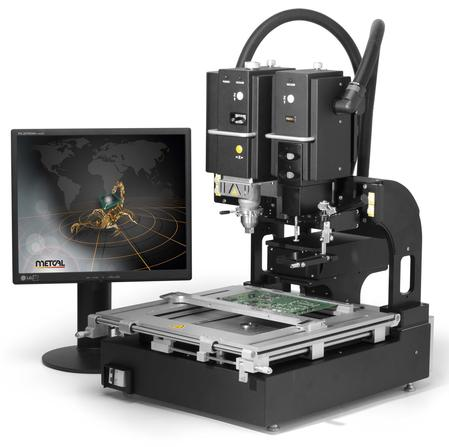 The Scorpion Rework System allows for simultaneous viewing of PCB pads and component pads or balls for the accurate placement of BGAs.