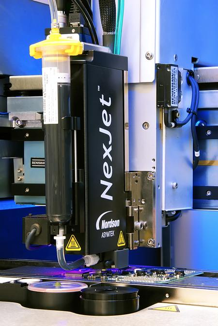 The award-winning NexJet® System with Genius™ Jet Cartridge, on the Spectrum™ S-920N platform, demonstrates how to tackle tighter die layout and more dispensing passes while increasing UPH.