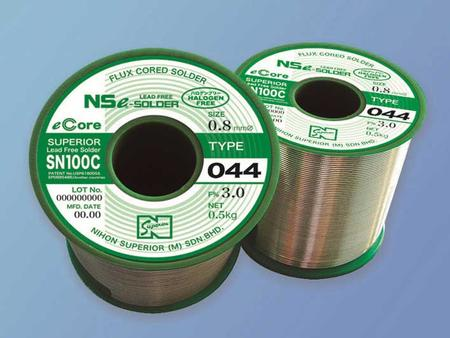 SN100C (044) completely halogen-free high performance  flux-cored solder wire.