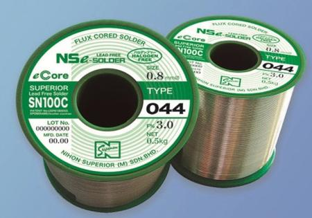 SN100C (044) is a halogen-free high-reliability no-clean flux-cored lead-free solder wire that does not contain F, Cl, Br and I.