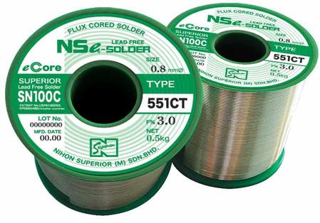 SN100C (551CT) fluxed-cored solder wire.