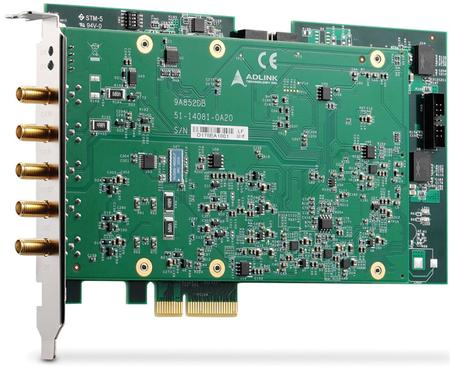 The PCIe-9852 digitizer featuring two simultaneously sampled 200 MS/s input channels with 14-bit resolution, 90 MHz bandwidth, and up to 1 GB DDR3 onboard memory.
