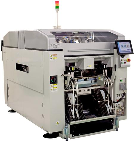 The Sigma F8 Ultra High Speed Chip Mounter is configured with a QUATRO Head (Four-Head Structure) and achieves high-speed One-by-One Pick-up/Placement using HITACHI's unique high speed, high accuracy, direct drive head (DDH)