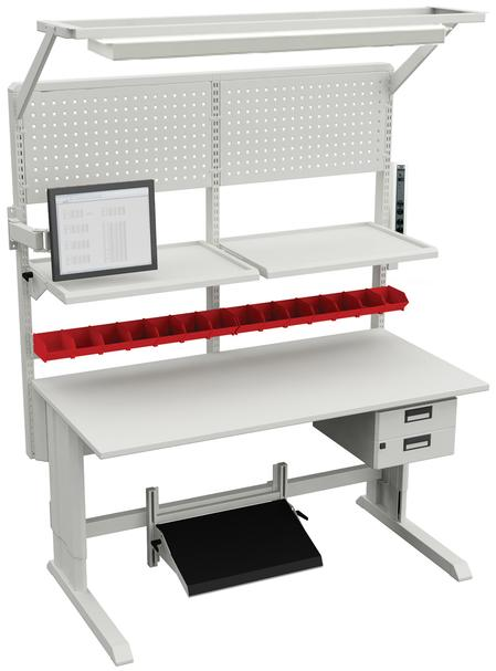 Sovella's Concept workstations, which are available in manual, hand crank, and motorized height adjustment options, are designed for the needs of the high-tech, electronics, and laboratory business sectors, where ergonomic qualities are an important requirement.