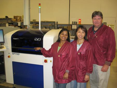 From left to right: Sheila Patel – SMT Operator, May Xiong – SMT Department Lead, Mike Schuck – Production Manager