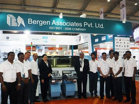 The Bergen Associates team show off the Europlacer iineo platform at the recent Productronica India exhibition.