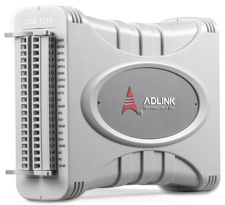The ADLINK USB-1210 features high dynamic performance, delivering -100 dB THD and 14.3-Bit ENOB at up to 2MS/s.