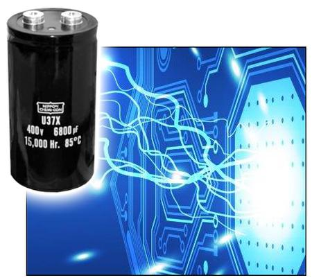 New Yorker Electronics supplies the new United Chemi-Con (UCC) U37X Screw Terminal Capacitor for long life and capable ripple current