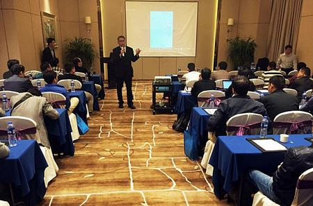 Jose Chou, ViTrox's GM for China & Taiwan, presenting during the UGM in Dongguan.