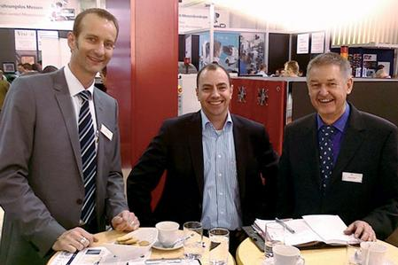 From left to right: Torsten Pelzer, Vice President of Sales, Europe at Viscom AG, Roman Henn, Managing Director at Mosca Elektronik und Antriebstechnik GmbH, and Rudolf Kappel, Systems for Electronics Production, Viscom Representative