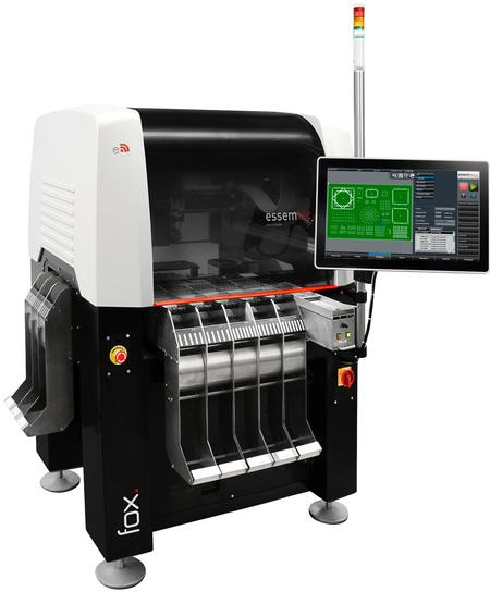 Essemtec Fox can have up to 180 feeder lanes, needs only 1sqm of floor space and can accept PCB's of up to 406 x 305 mm.