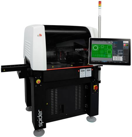 Essemtec Spider, the extreme fast and compact jet and general dispenser is rated for up to 150 000 dots per hour, dispenses 3D patterns and much more.