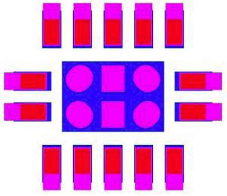 blue = SMT pad, red = IC foot, magenta = recommended stencil aperture