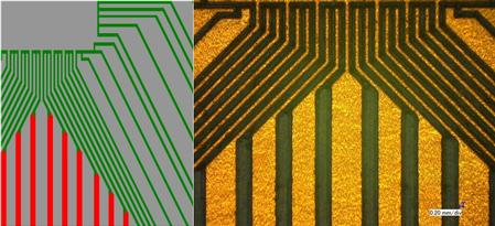 Layout data (grey= copper, green = laser tool, red = EndMill 150 µm) and structured PCB by ProtoMat D104