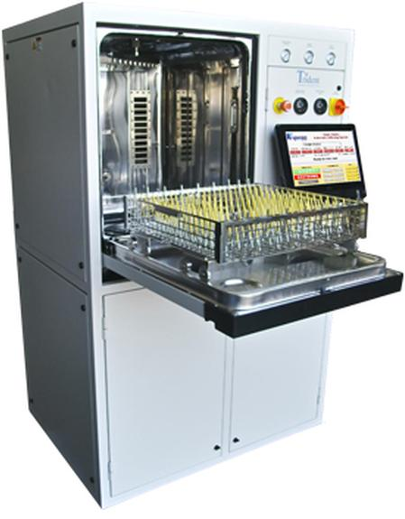 Trident-CL , a fully closed-loop, zero-discharge fully automatic defluxing and cleanliness testing system.